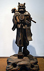 Antique Praying Demon Wood Carving. Oni no Nenbutsu
