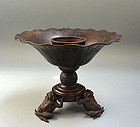 19th c. Japanese Bronze Usubata Vase, Toads