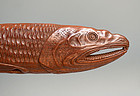 Sashi Netsuke of a Dried Fish, Signed Shozan