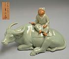 Taisho p. Miyanaga Tozan Celadon  Porcelain Koro