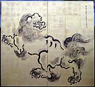 Pair 19th c. Gold Kano Screens, Shishi Lions by Tanshin, B