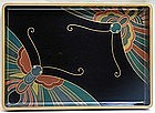 ART DECO Japanese LACQUER TRAY, BUTTERFLIES w/ BOX