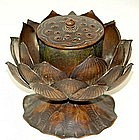 EXQUISITE Antique Japanese BRONZE KORO, LOTUS