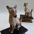 Edo p. Japanese Shinto Shrine Fox Pair, Kitsune