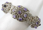 Chinese Export Silver Amethyst Filigree Bracelet