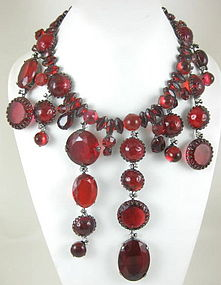 Amazing Robert Sorrell Asymmetric Red Bib Necklace