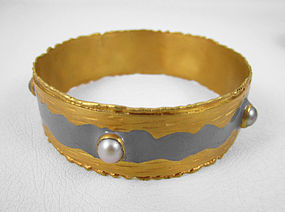 Gray Felipe Barbosa Gold Vermeil Bangle Bracelet