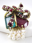 Convertible C&D Pearl Ruby and Emerald Bracelet