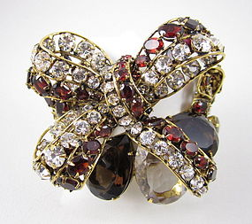 Stunning C&D Topaz and Garnet Bow Bracelet