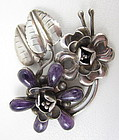 Gorgeous Mexican Silver Amethyst Flower Pin