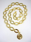 Heavy Chanel Gold Tone Link Belt w/ 4 Leaf Clover