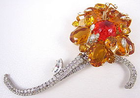 "Gorgeous Robert Sorrell Orange ""Night & Day"" Flower Pin"