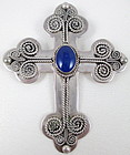 Beautiful Sterling and Lapis Ornate Cross Pendant