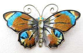 Beautiful David Andersen Sterling Enamel Butterfly Pin