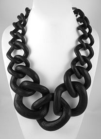 Fabulous Large Black Resin Chain Necklace