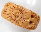 Floral Carved Cream Corn Bakelite Clamper Bracelet