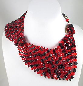 Rare Coppola e Toppo Red Woven Beaded Collar Necklace