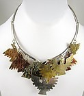 "Unusual Emilia ""Mimi"" Los Castillo Sterling Brass Copper Bird Necklace"