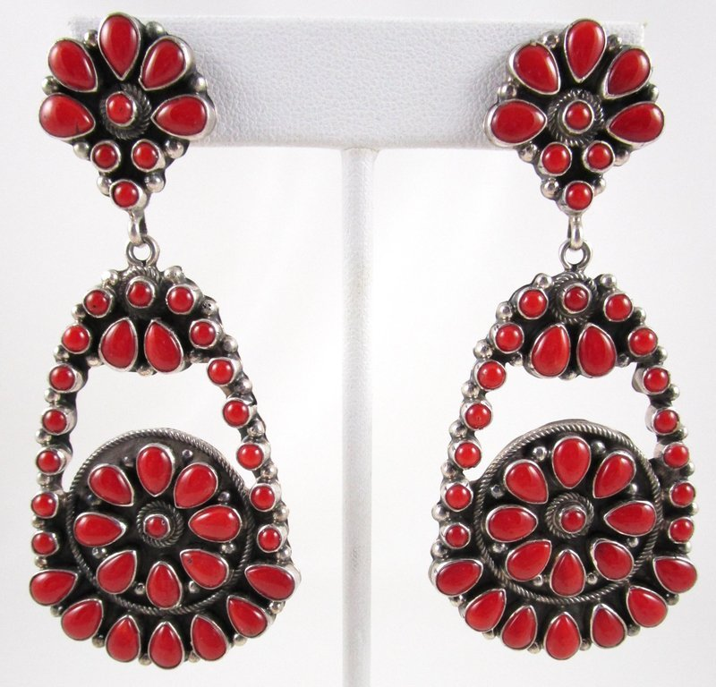Outstanding Sterling & Natural Red Coral Zuni Pendant Earrings