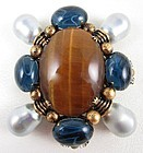 Classic Iradj Moini Tiger Eye Pearl Maltese Cross Statement Pin