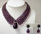 Delicate Louis Rousselet Purple Necklace and Earrings