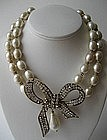 Stunning Vintage Chanel Baroque Pearl Bow Necklace