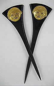 Isabel Canovas Galalith and Brass Hair Ornaments