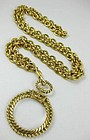 Classic Chanel Gold Tone Monocle Necklace