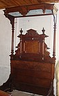 Antique Victorian  Canopy Bed Grand Burl Wood 19th C.