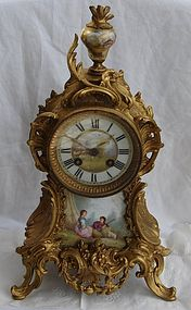 Antique French Clock Bronze Porcelain 19th C. Vincenti