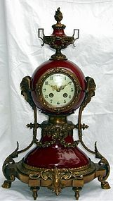 Antique Lenzkirch Clock Bronze Porcelain 19th C. Large