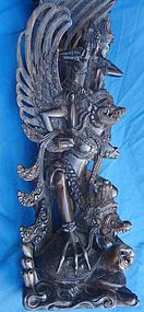 Antique Asian Rosewood Complex Carved Vishnu Garuda
