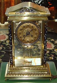 Antique Tiffany Champleve Crystal Regulator Clock 19th