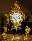 Antique French Gilt and Patinated Bronze Mantel Clock