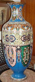 Large Antique Japanese Meiji Cloisonne Vase 19th C