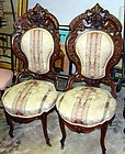Antique Meeks Chairs Walnut Pair