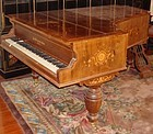 Antique English Grand Piano Rosewood Inlaid 19th C.