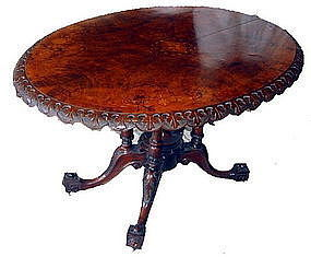 English Burl Walnut Inlaid Table Tilt Top 19th C.