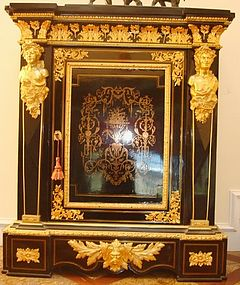 Antique French Cabinet Ebonized Brass Inlaid 19th C.