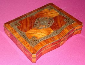 Antique French Tulip Wood Silver Inlaid Game Box 19th C