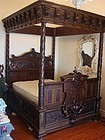 Saxe-Coberg French Oak Canopy Bed Armoire Barbedienne
