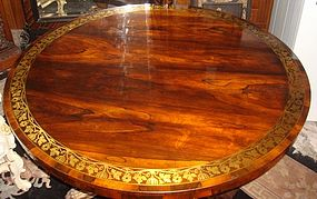 English Regency Rosewood Breakfast Table Brass inlaid