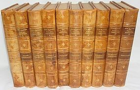 Antique Leather Swedish Books 1927 10 Volumes