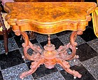 English Rosewood Burl Game Table 19th C.
