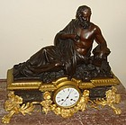 Antique French Patinated Bronze Dore Clock 19th C.