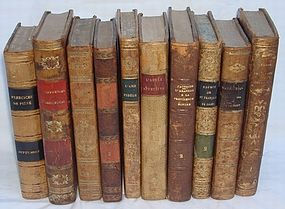 10 Antique Leather Books French from 1800s