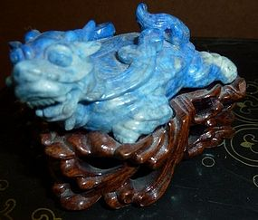 Antique Chinese Lapis Dragon Turtle