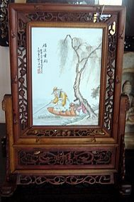Wang Qi 1884 - 1937 Antique Painted Pane