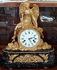 Important French Angel Clock Bronze Ormolu and