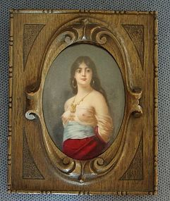 French Painted Porcelain Portrait Woman 19th C